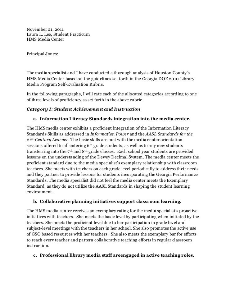 November 21, 2011Laura L. Lee, Student PracticumHMS Media CenterPrincipal Jones:The media specialist and I have conducted ...