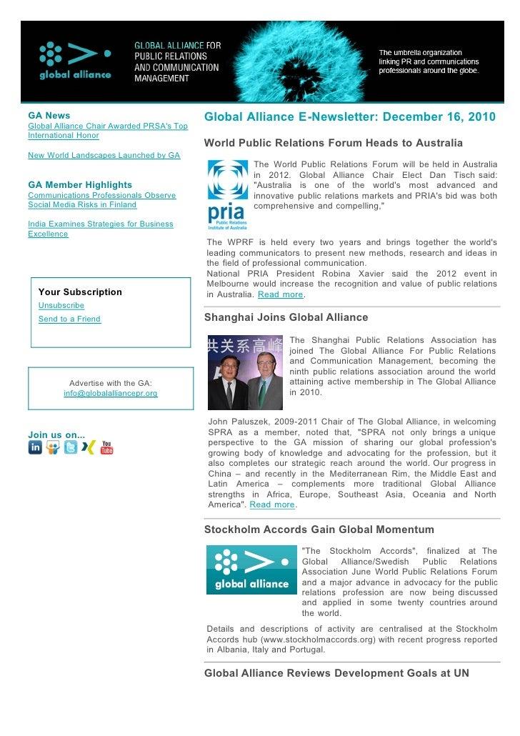 GA News                                    Global Alliance E-Newsletter: December 16, 2010Global Alliance Chair Awarded PR...
