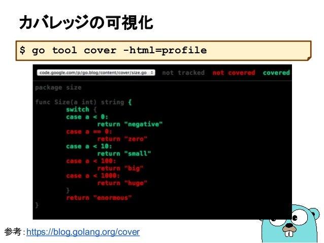 カバレッジの可視化 $ go tool cover -html=profile 参考:https://blog.golang.org/cover