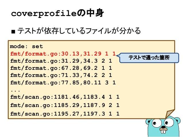 coverprofileの中身 ■ テストが依存しているファイルが分かる mode: set fmt/format.go:30.13,31.29 1 1 fmt/format.go:31.29,34.3 2 1 fmt/format.go:67...