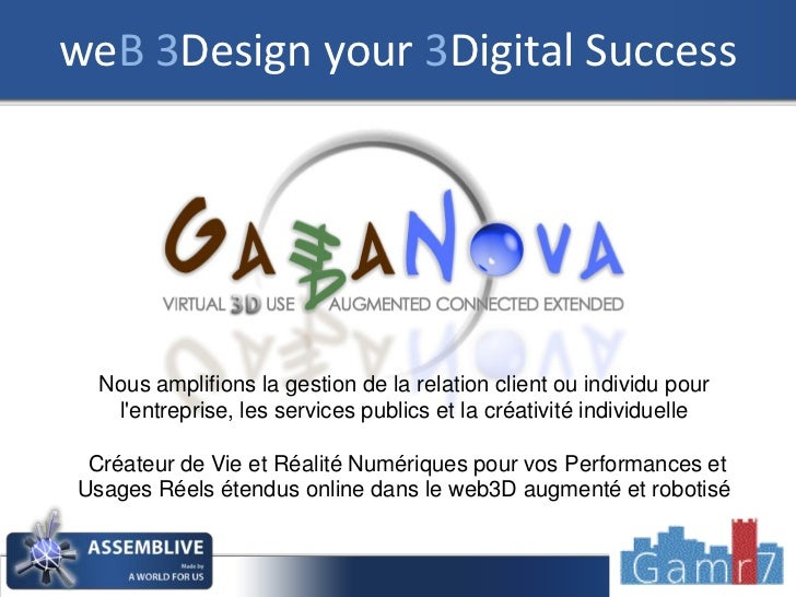weB 3Design your 3Digital Success  Nous amplifions la gestion de la relation client ou individu pour   lentreprise, les se...