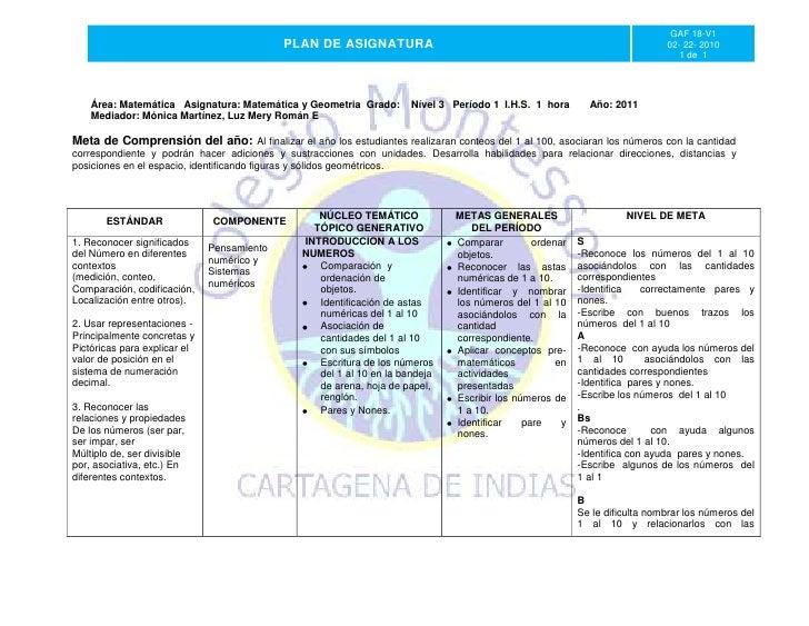 Gaf  18- v1 plan de asignatura  matematicas y geometria 2011  (nivel 3 y 1 de primaria )