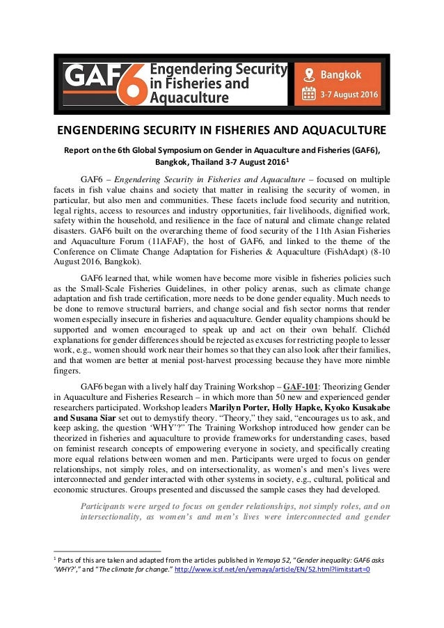 ENGENDERING SECURITY IN FISHERIES AND AQUACULTURE Report on the 6th Global Symposium on Gender in Aquaculture and Fisherie...