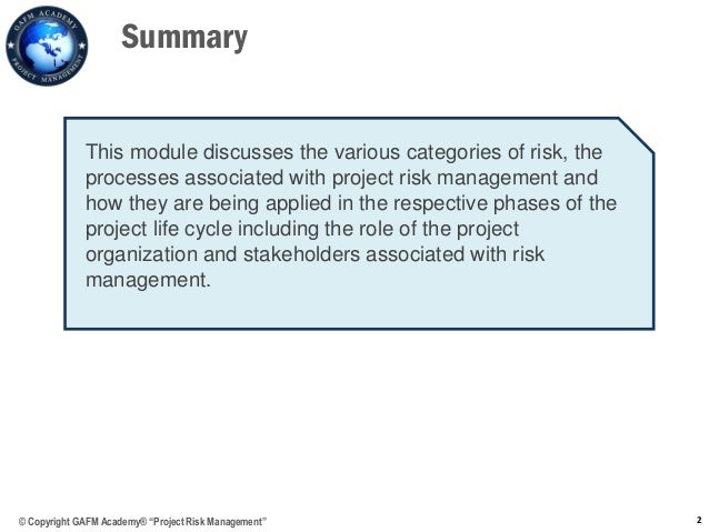 risk mgmt course project 2 Pm college offers corporate project management training & competency  development programs to  this 2-day course reviews the content of the pmi's  project management body of  project risk management (virtual instructor-led  training.