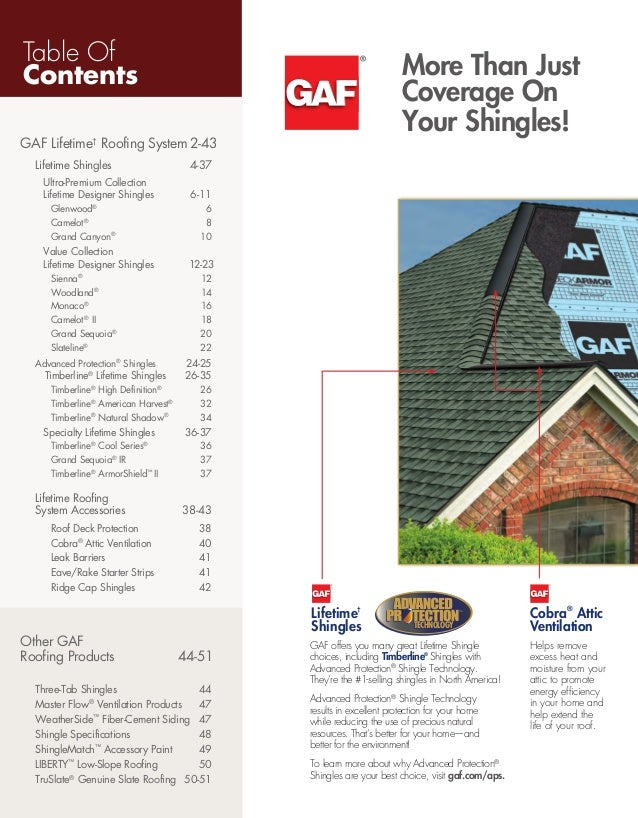 ... 3. Table Of Contents GAF Lifetimeu2020 Roofing System ...