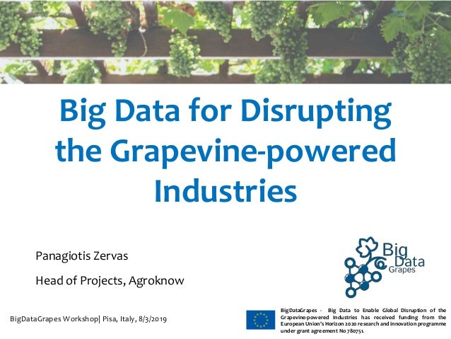 WWW.BIGDATAGRAPES.EU BigDataGrapes - Big Data to Enable Global Disruption of the Grapevine-powered Industries has received...