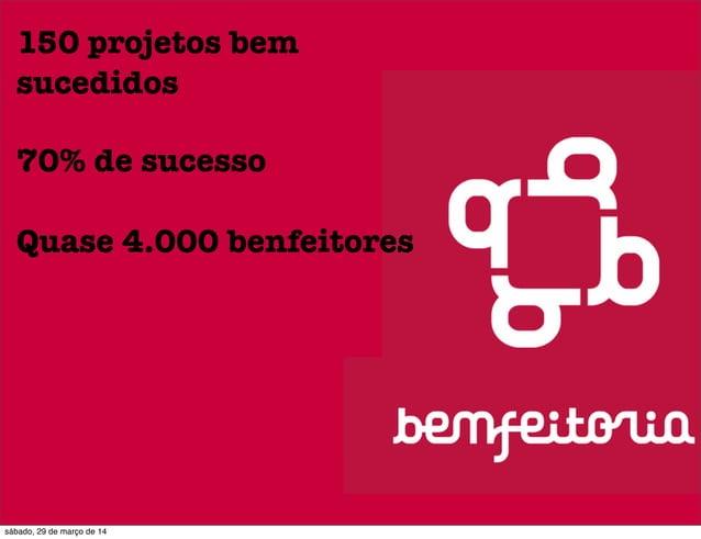 150 projetos bem sucedidos 70% de sucesso Quase 4.000 benfeitores sábado, 29 de março de 14
