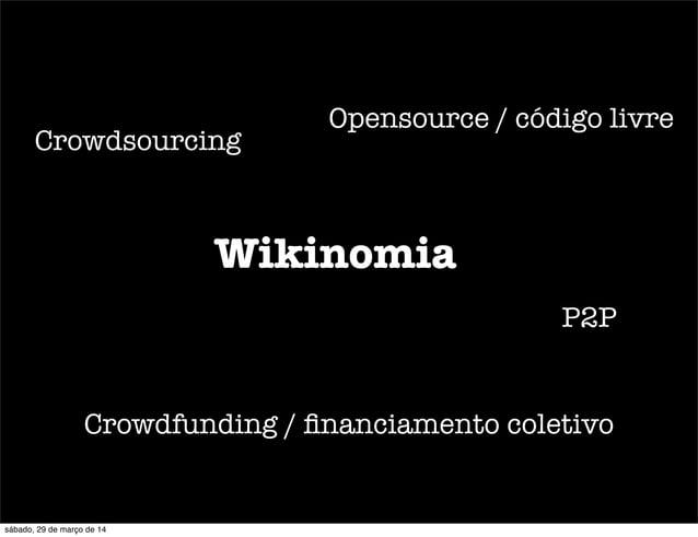 Wikinomia Crowdsourcing Crowdfunding / financiamento coletivo P2P Opensource / código livre sábado, 29 de março de 14
