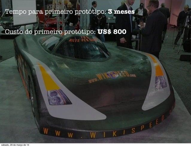 Tempo para primeiro protótipo: 3 meses Custo do primeiro protótipo: US$ 800 sábado, 29 de março de 14