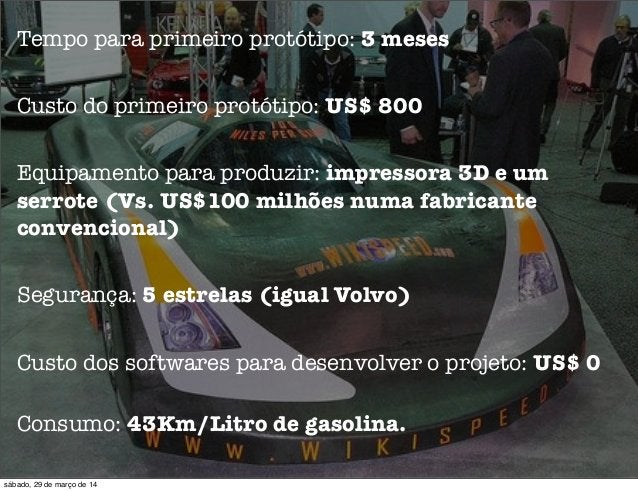 Tempo para primeiro protótipo: 3 meses Custo do primeiro protótipo: US$ 800 Equipamento para produzir: impressora 3D e um ...