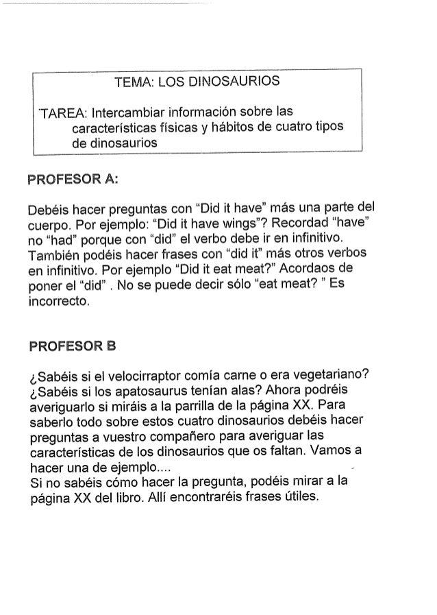TEI'. /IA:  LOS DINOSAU RIOS  'TAREA:  lntercambiar informacion sobre las caracteristicas fisicas y habitos de cuatro tipo...