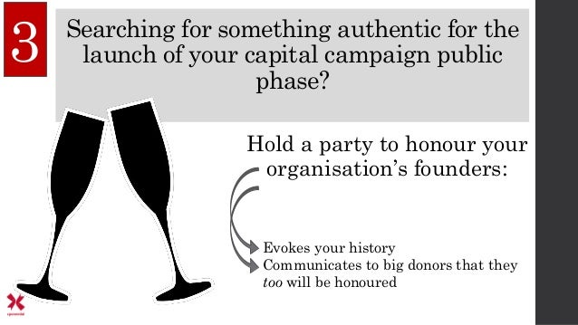 Searching for something authentic for the launch of your capital campaign public phase? Hold a party to honour your organi...