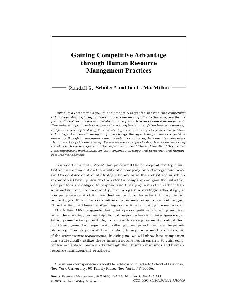 Gaining Competitive Advantage                   through Human Resource                     Management Practices           ...
