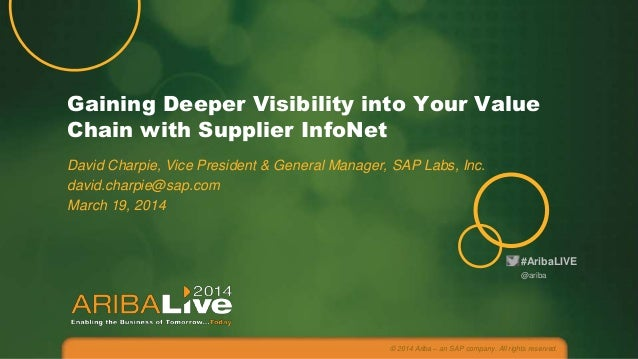 #AribaLIVE Gaining Deeper Visibility into Your Value Chain with Supplier InfoNet David Charpie, Vice President & General M...