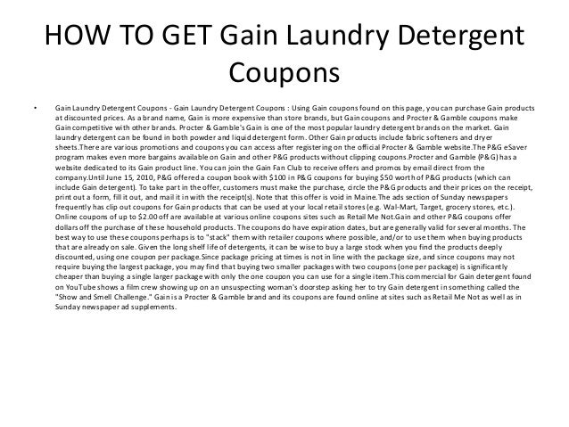Gain Laundry Detergent Coupons Printable Gain Laundry Detergent Cou