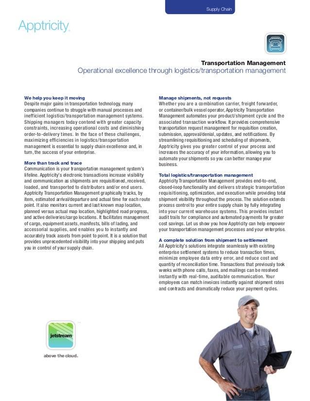 Transportation ManagementOperational excellence through logistics/transportation managementWe help you keep it movingDespi...