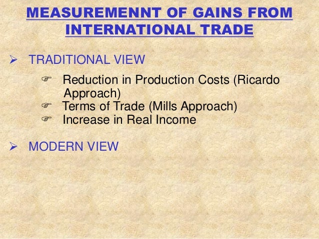 gains from international trade O n the topic of international trade the same model of efficiency explains the international arena—why gains from trade.