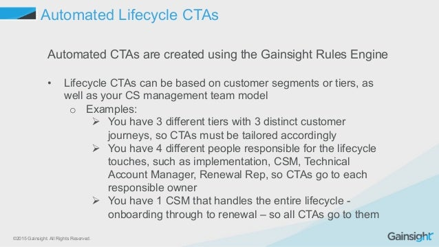 ©2015 Gainsight. All Rights Reserved. Automated Lifecycle CTAs Automated CTAs are created using the Gainsight Rules Engine...