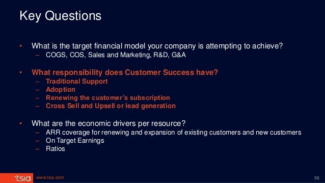 www.tsia.com Key Questions • What is the target financial model your company is attempting to achieve? – COGS, COS, Sales ...