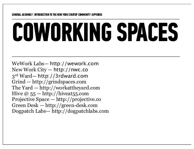 GENERAL ASSEMBLY I INTRODUCTION TO THE NEW YORK STARTUP COMMUNITY I APPENDIX   15COWORKING SPACESWeWork Labs— http://wewor...