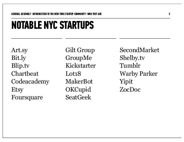 GENERAL ASSEMBLY I INTRODUCTION TO THE NEW YORK STARTUP COMMUNITY I WHO THEY ARE                  3NOTABLE NYC STARTUPSArt...