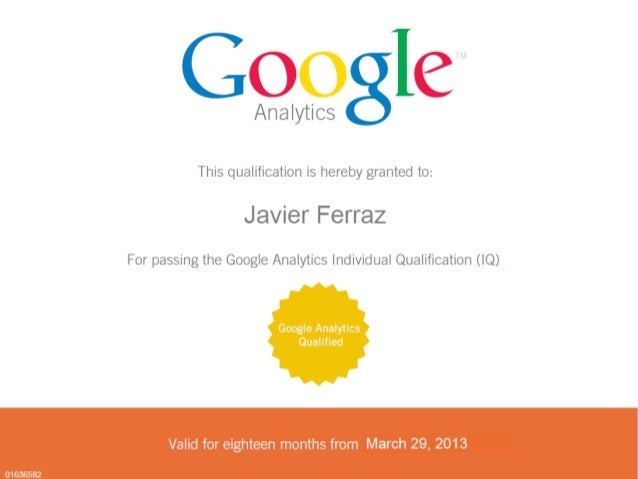 Google Analytics Individual Qualification Javier Ferraz