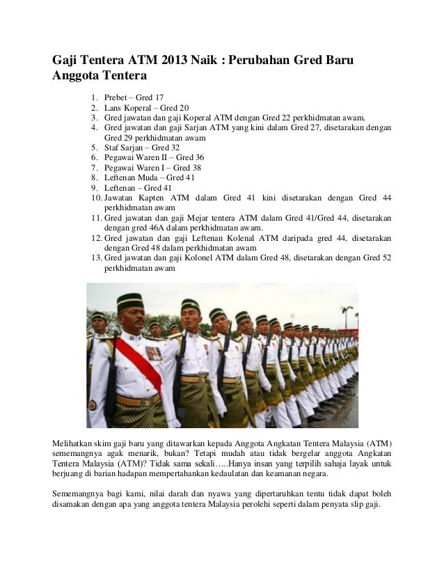 Gaji Tentera Atm 2013 Naik