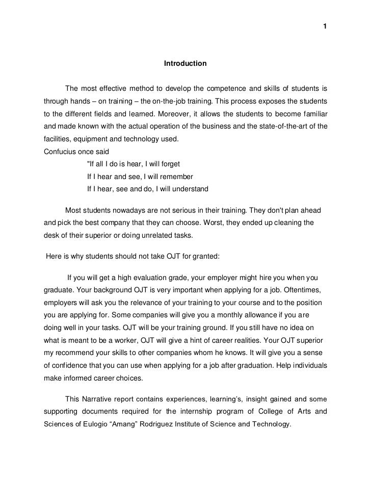 ojt narrative report essay Read and download example ojt narrative report hrm student free ebooks in pdf format  wesley answers platinum natural science grade 8 socio economic issue essay for.