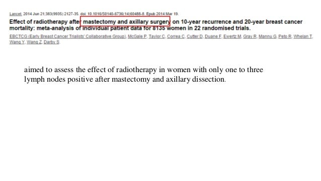 aimed to assess the effect of radiotherapy in women with only one to three lymph nodes positive after mastectomy and axill...