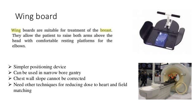 Wing board  Simpler positioning device  Can be used in narrow bore gantry  Chest wall slope cannot be corrected  Need ...