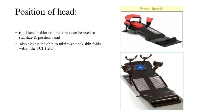 Position of head: • rigid head holder or a neck rest can be used to stabilize & position head • also elevate the chin to m...