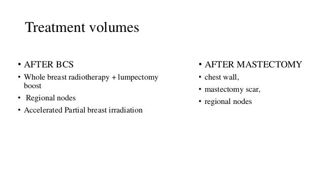 Treatment volumes • AFTER BCS • Whole breast radiotherapy + lumpectomy boost • Regional nodes • Accelerated Partial breast...