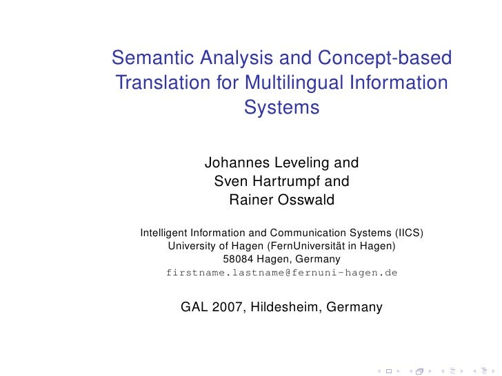 Semantic Analysis and Concept-based Translation for Multilingual Information                 Systems                 Johan...