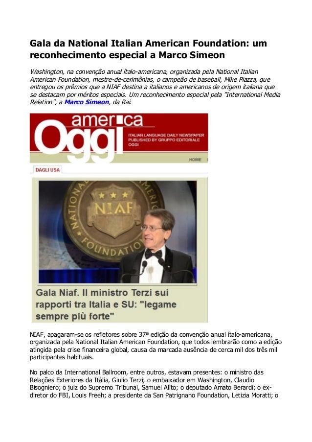 Gala da National Italian American Foundation: um reconhecimento especial a Marco Simeon Washington, na convenção anual íta...