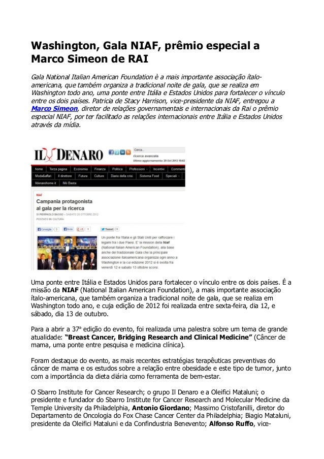 Washington, Gala NIAF, prêmio especial a Marco Simeon de RAI Gala National Italian American Foundation è a mais importante...