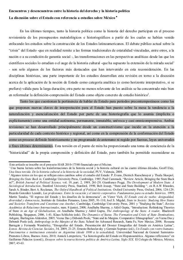 Encuentros y desencuentros entre la historia del derecho y la historia política La discusión sobre el Estado con referenci...