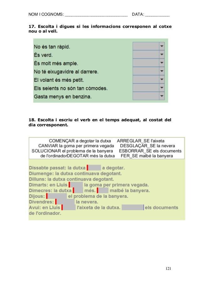 NOM I COGNOMS: ____________________________ DATA: ___________  121  17. Escolta i digues si les informacions corresponen a...