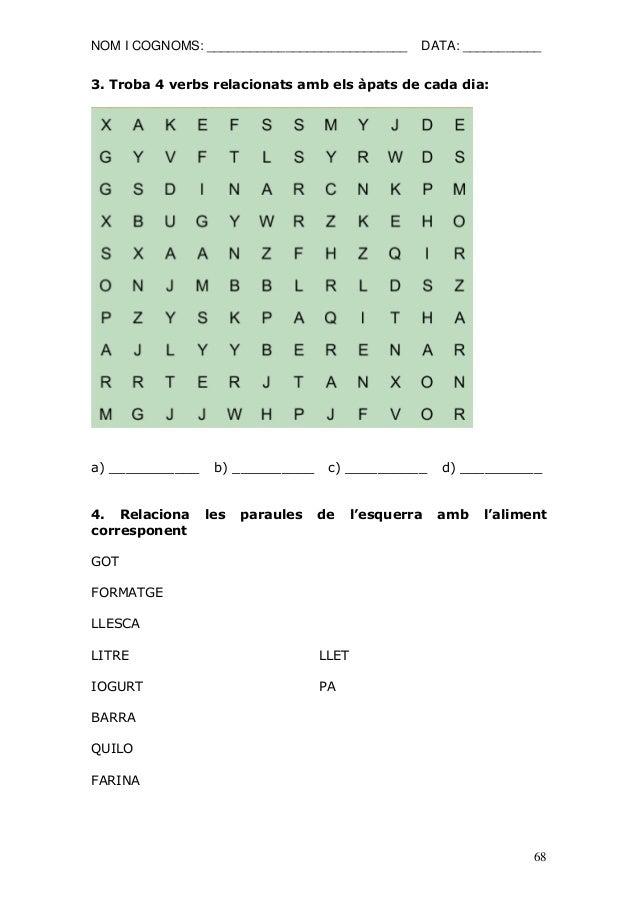 NOM I COGNOMS: ____________________________ DATA: ___________  68  3. Troba 4 verbs relacionats amb els àpats de cada dia:...