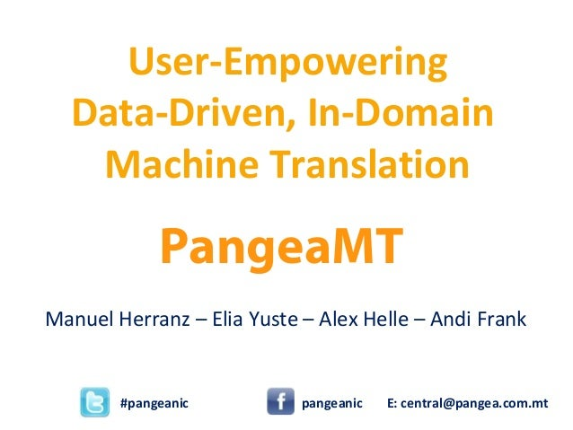 PangeaMT Manuel Herranz – Elia Yuste – Alex Helle – Andi Frank User-Empowering Data-Driven, In-Domain Machine Translation ...