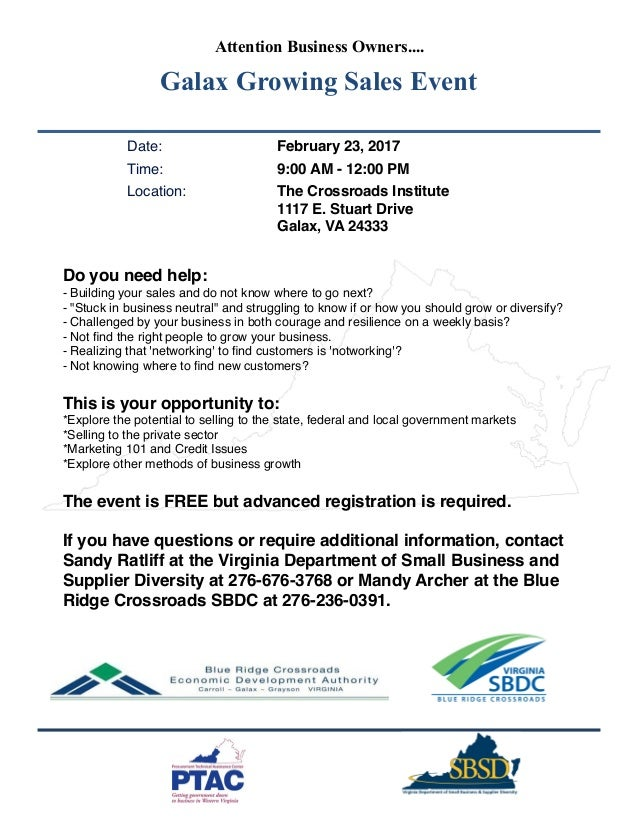 Attention Business Owners.... Galax Growing Sales Event Date: February 23, 2017 Time: 9:00 AM - 12:00 PM Location: The Cro...