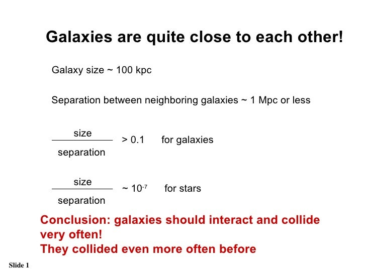 Galaxies are quite close to each other! Galaxy size ~ 100 kpc Separation between neighboring galaxies ~ 1 Mpc or less for ...