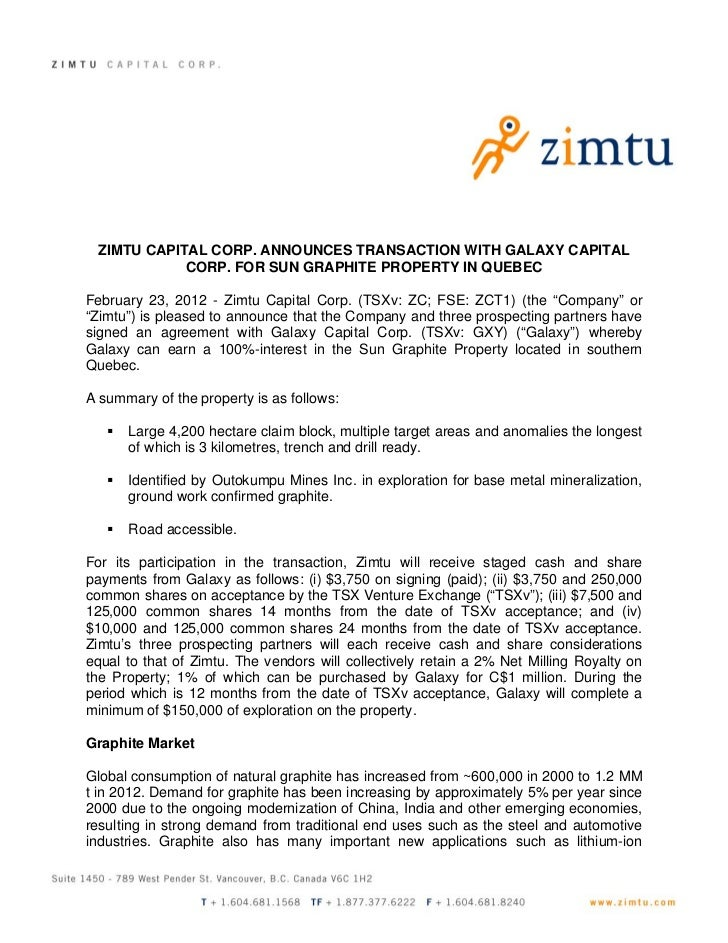 ZIMTU CAPITAL CORP. ANNOUNCES TRANSACTION WITH GALAXY CAPITAL            CORP. FOR SUN GRAPHITE PROPERTY IN QUEBECFebruary...