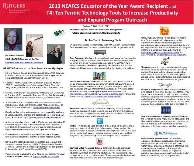 2013 NEAFCS Educator of the Year Award Recipient and T4: Ten Terrific Technology Tools to Increase Productivity and Expand...