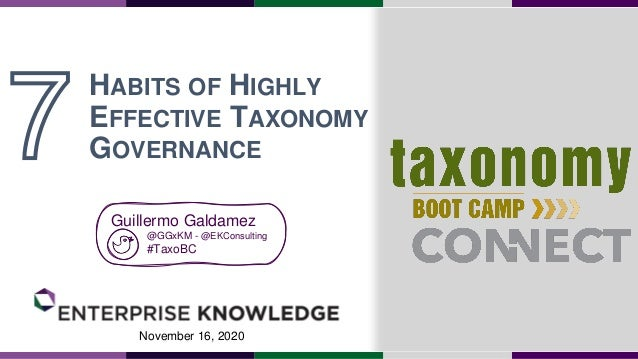 November 16, 2020 HABITS OF HIGHLY EFFECTIVE TAXONOMY GOVERNANCE Guillermo Galdamez @GGxKM - @EKConsulting #TaxoBC
