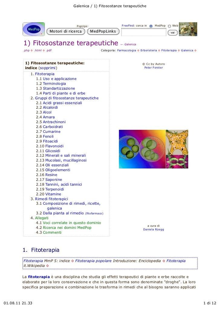 Galenica / 1) Fitosostanze terapeutiche                                        PopUps:                      FreeFind: cerc...