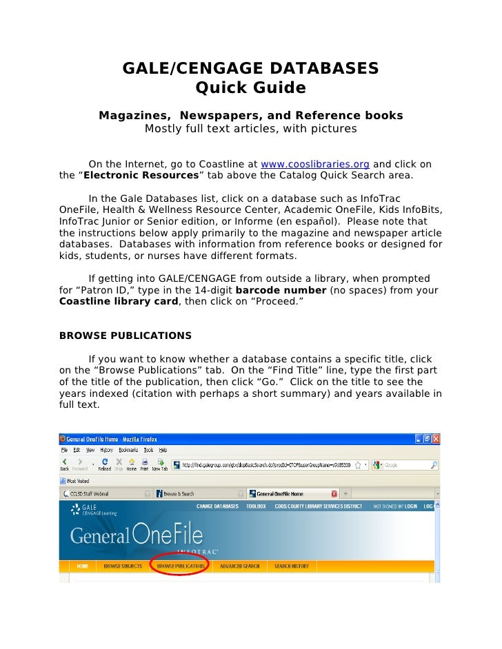 GALE/CENGAGE DATABASES                     Quick Guide         Magazines, Newspapers, and Reference books               Mo...