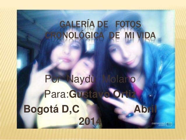 GALERÍA DE FOTOS CRONOLÓGICA DE MI VIDA Por Naydù Molano Para:Gustavo Ortiz Bogotá D,C Abril 2014