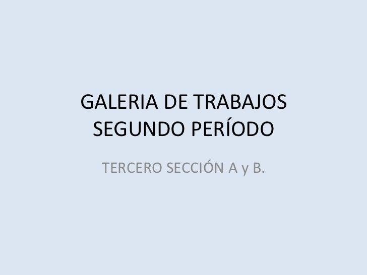 GALERIA DE TRABAJOS SEGUNDO PERÍODO TERCERO SECCIÓN A y B.