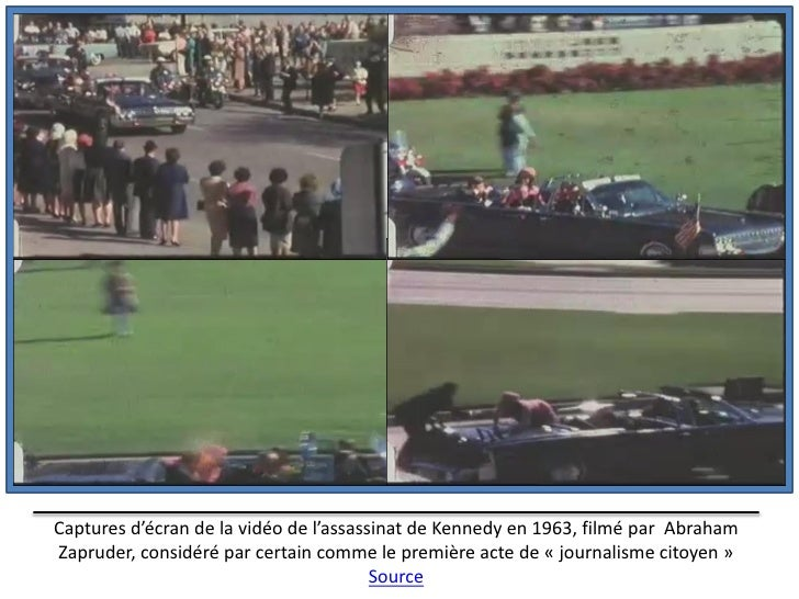 Captures d'écran de la vidéo de l'assassinat de Kennedy en 1963, filmé par AbrahamZapruder, considéré par certain comme le...