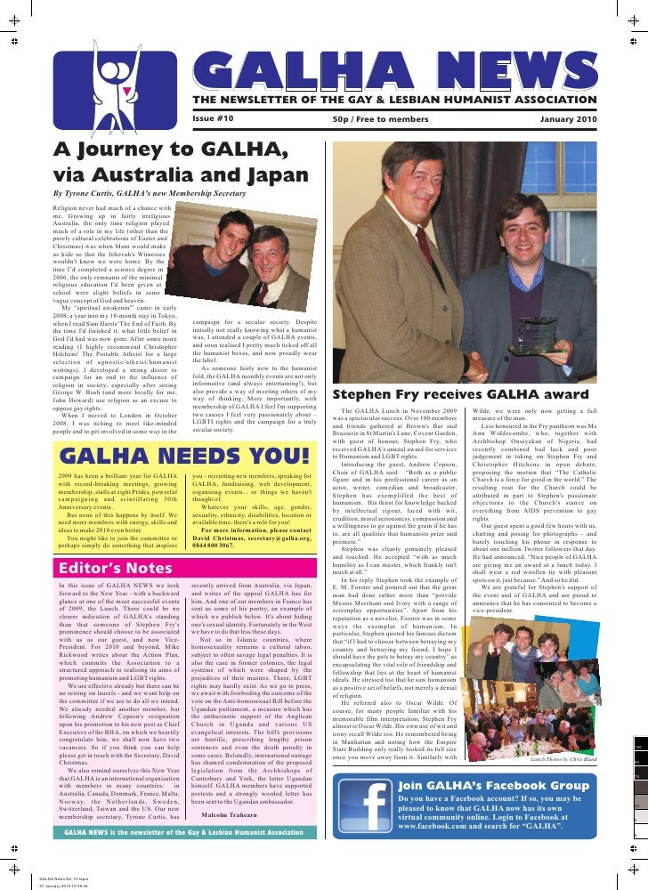 GALHA NEWS                                                   THE NEWSLETTER OF THE GAY & LESBIAN HUMANIST ASSOCIATION     ...